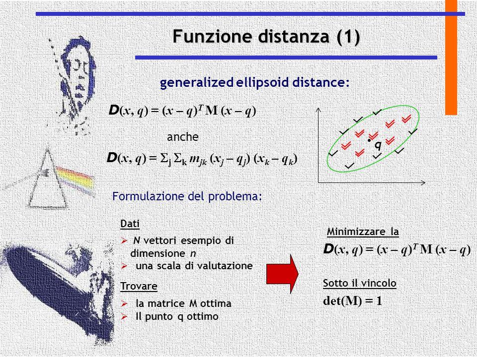 Funzione distanza (1) generalized ellipsoid distance: D (x, q) = (x – q) T M (x – q) q D (x, q) =  j  k m jk (x j – q j ) (x k – q k ) anche Formula