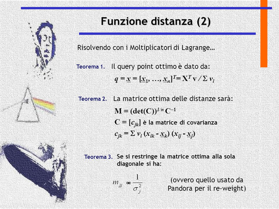Funzione distanza (2) Risolvendo con i Moltiplicatori di Lagrange… Il query point ottimo è dato da: Teorema 1. q = x = [x 1, …, x n ] T = X T v /  v