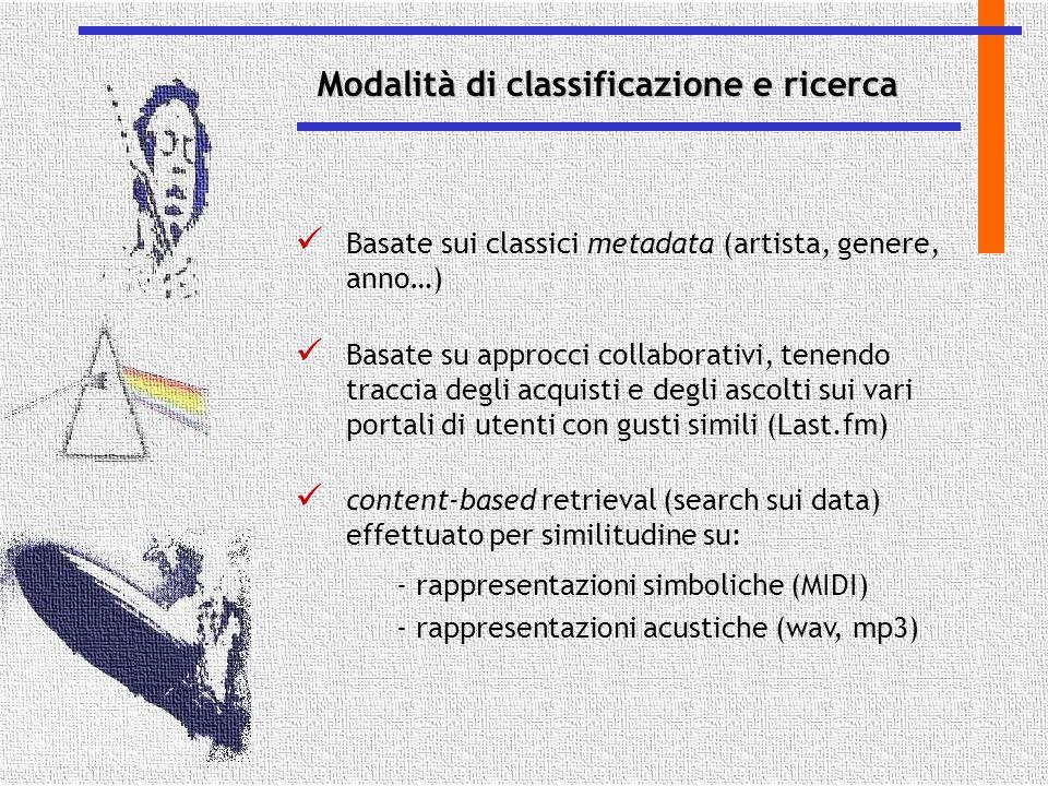 Basate sui classici metadata (artista, genere, anno…) Basate su approcci collaborativi, tenendo traccia degli acquisti e degli ascolti sui vari portal