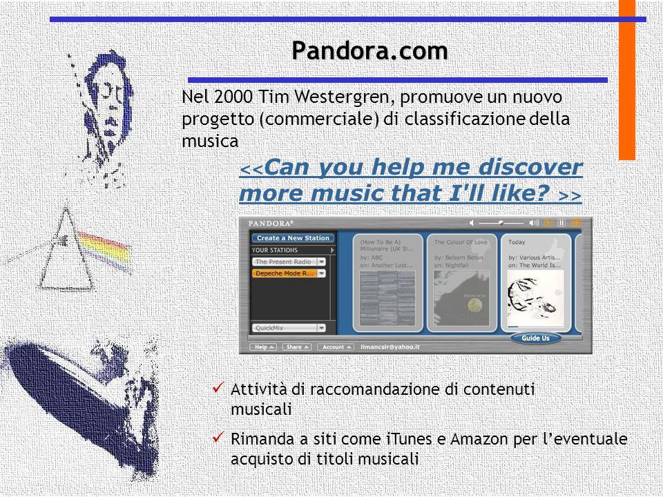 > Attività di raccomandazione di contenuti musicali Rimanda a siti come iTunes e Amazon per l'eventuale acquisto di titoli musicali Pandora.com Nel 20
