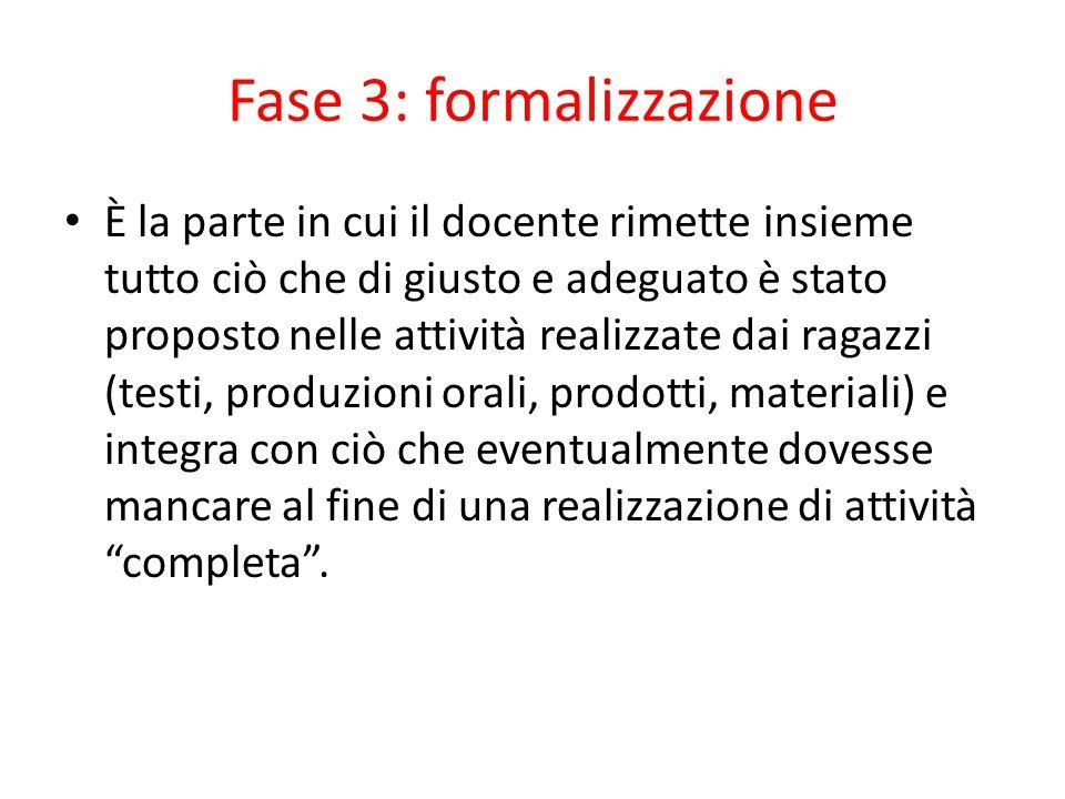 Fase 3: formalizzazione È la parte in cui il docente rimette insieme tutto ciò che di giusto e adeguato è stato proposto nelle attività realizzate dai
