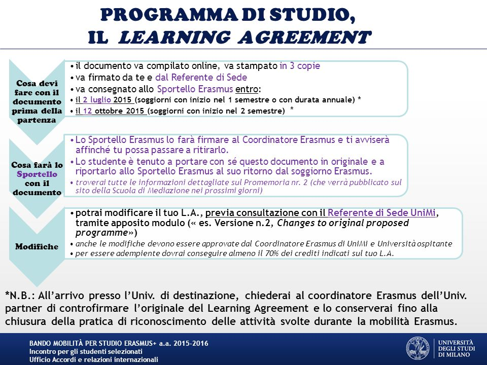 PROGRAMMA DI STUDIO, IL LEARNING AGREEMENT Cosa devi fare con il documento prima della partenza il documento va compilato online, va stampato in 3 cop