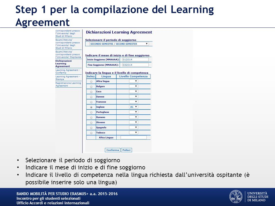 Step 1 per la compilazione del Learning Agreement BANDO MOBILITÀ PER STUDIO ERASMUS+ a.a.