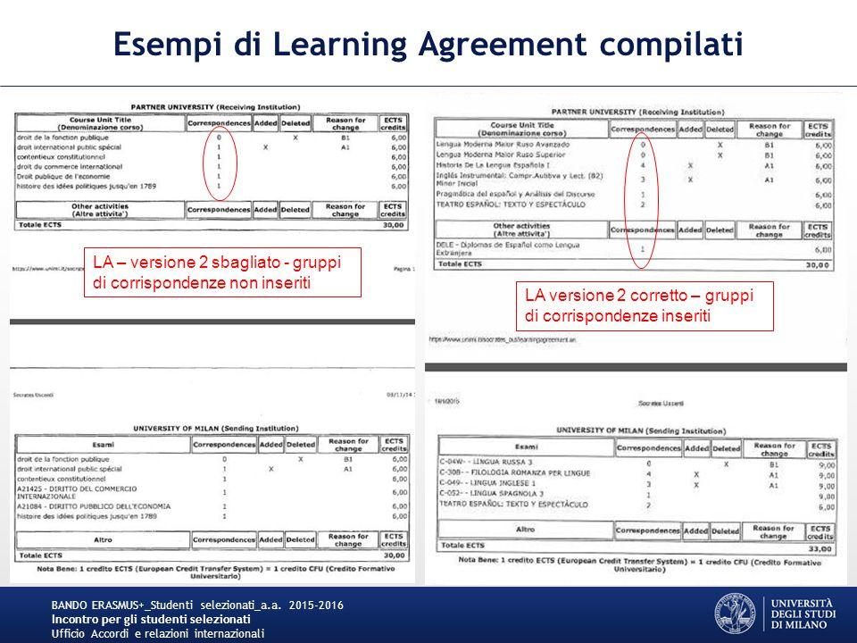 Esempi di Learning Agreement compilati BANDO ERASMUS+_Studenti selezionati_a.a.
