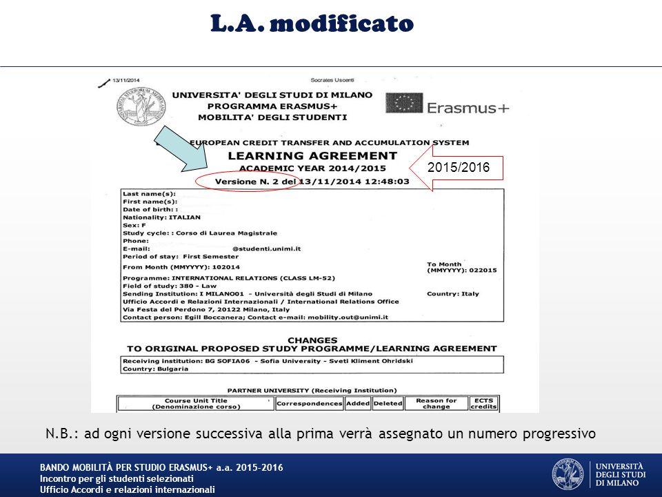 L.A. modificato BANDO MOBILITÀ PER STUDIO ERASMUS+ a.a.