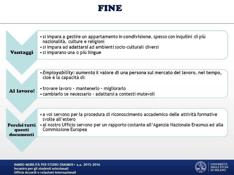 FINE BANDO MOBILITÀ PER STUDIO ERASMUS+ a.a.