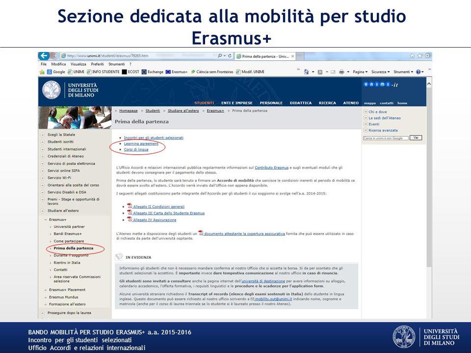 Sezione dedicata alla mobilità per studio Erasmus+ BANDO MOBILITÀ PER STUDIO ERASMUS+ a.a.