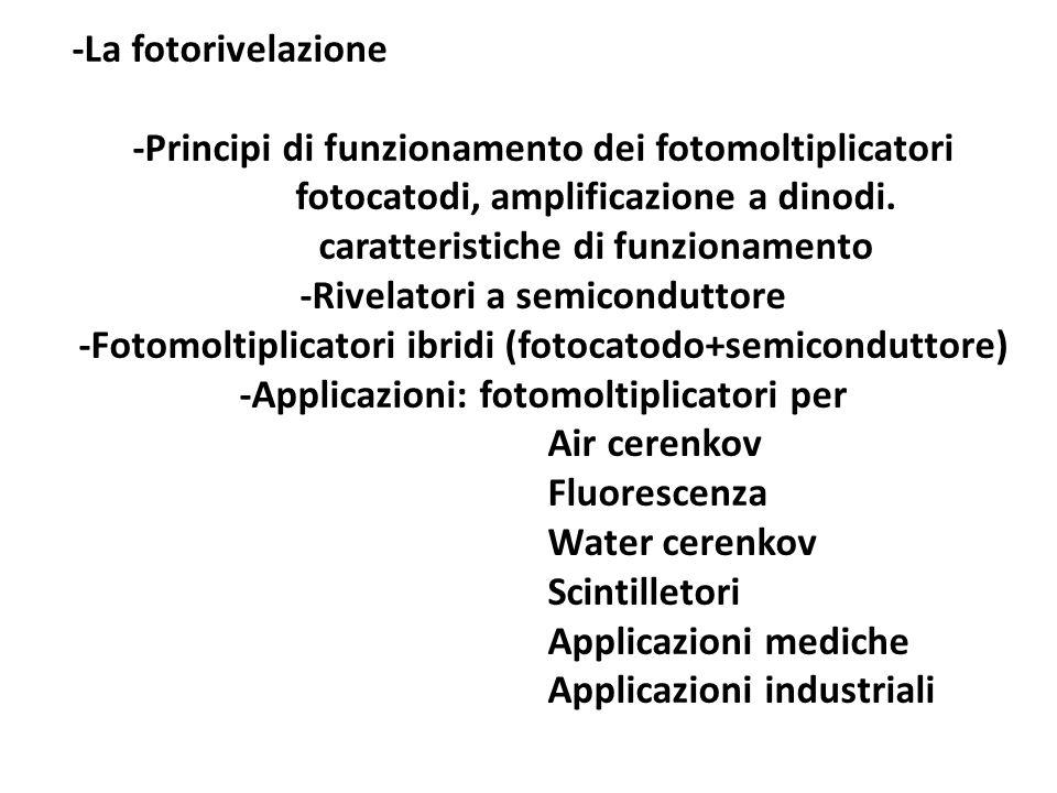 -La fotorivelazione -Principi di funzionamento dei fotomoltiplicatori fotocatodi, amplificazione a dinodi.