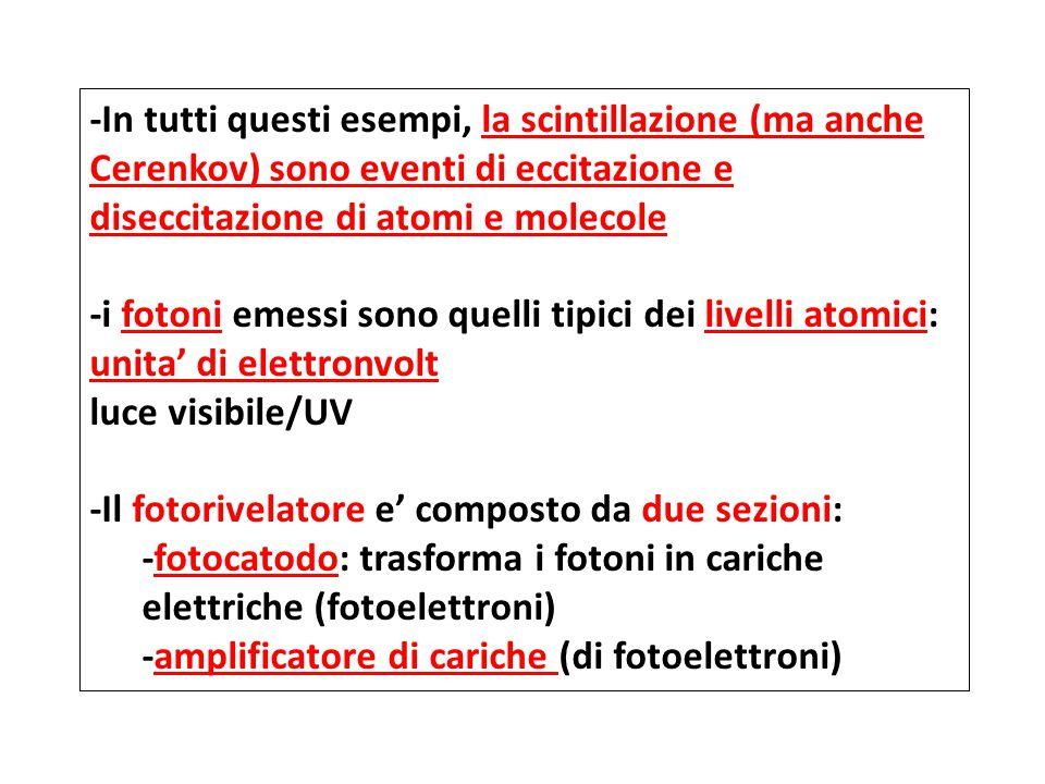 -In tutti questi esempi, la scintillazione (ma anche Cerenkov) sono eventi di eccitazione e diseccitazione di atomi e molecole -i fotoni emessi sono quelli tipici dei livelli atomici: unita' di elettronvolt luce visibile/UV -Il fotorivelatore e' composto da due sezioni: -fotocatodo: trasforma i fotoni in cariche elettriche (fotoelettroni) -amplificatore di cariche (di fotoelettroni)