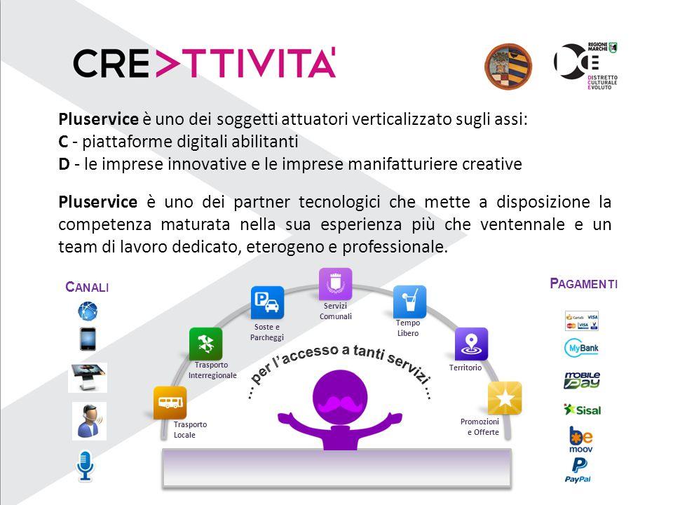 Pluservice è uno dei soggetti attuatori verticalizzato sugli assi: C - piattaforme digitali abilitanti D - le imprese innovative e le imprese manifatt