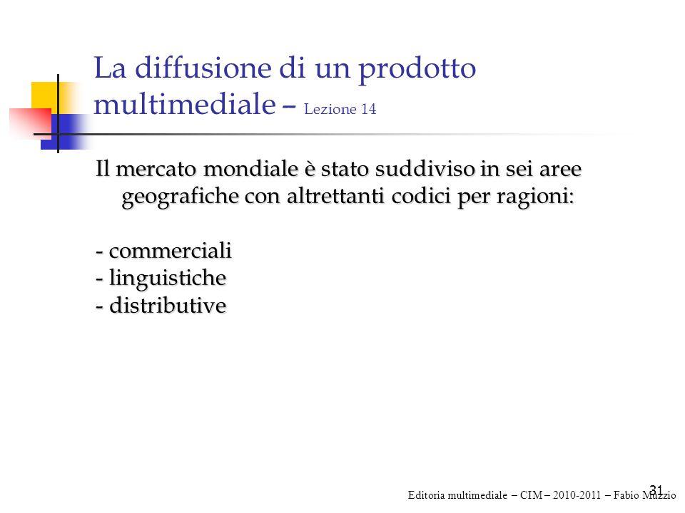 31 La diffusione di un prodotto multimediale – Lezione 14 Il mercato mondiale è stato suddiviso in sei aree geografiche con altrettanti codici per ragioni: - commerciali - linguistiche - distributive Editoria multimediale – CIM – 2010-2011 – Fabio Muzzio