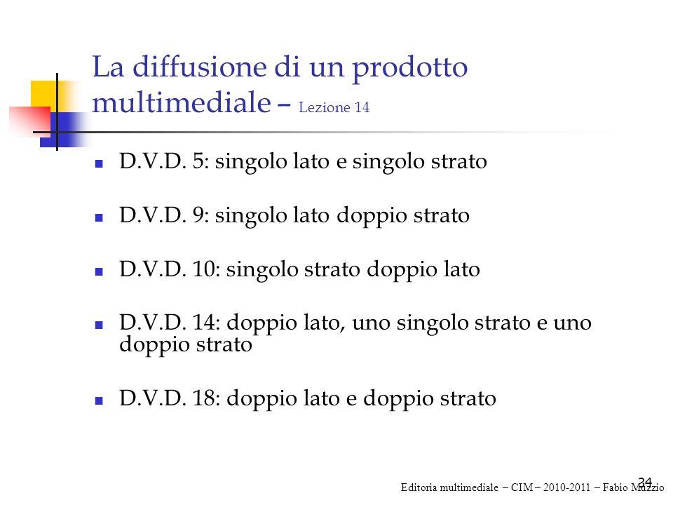 34 La diffusione di un prodotto multimediale – Lezione 14 D.V.D.