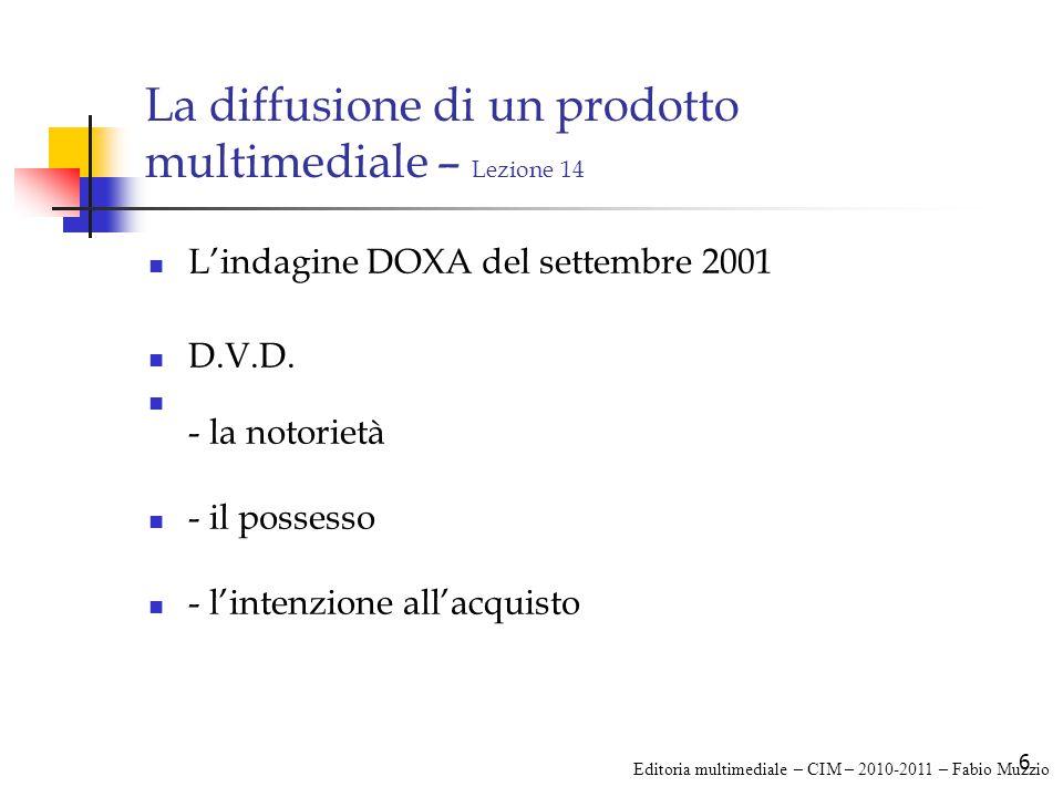 6 La diffusione di un prodotto multimediale – Lezione 14 L'indagine DOXA del settembre 2001 D.V.D.