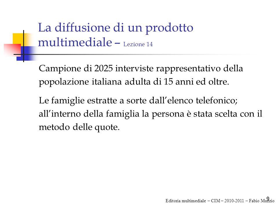 9 La diffusione di un prodotto multimediale – Lezione 14 Campione di 2025 interviste rappresentativo della popolazione italiana adulta di 15 anni ed oltre.