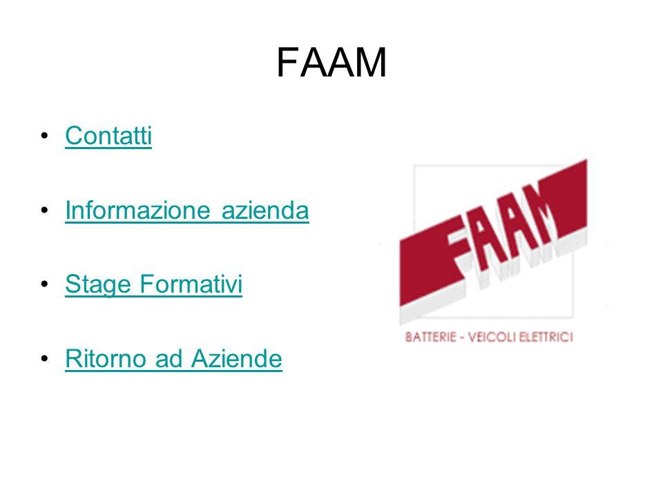 FAAM Contatti Informazione azienda Stage Formativi Ritorno ad Aziende