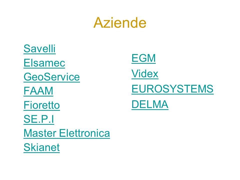 Aziende Savelli Elsamec GeoService FAAM Fioretto SE.P.I Master Elettronica Skianet EGM Videx EUROSYSTEMS DELMA