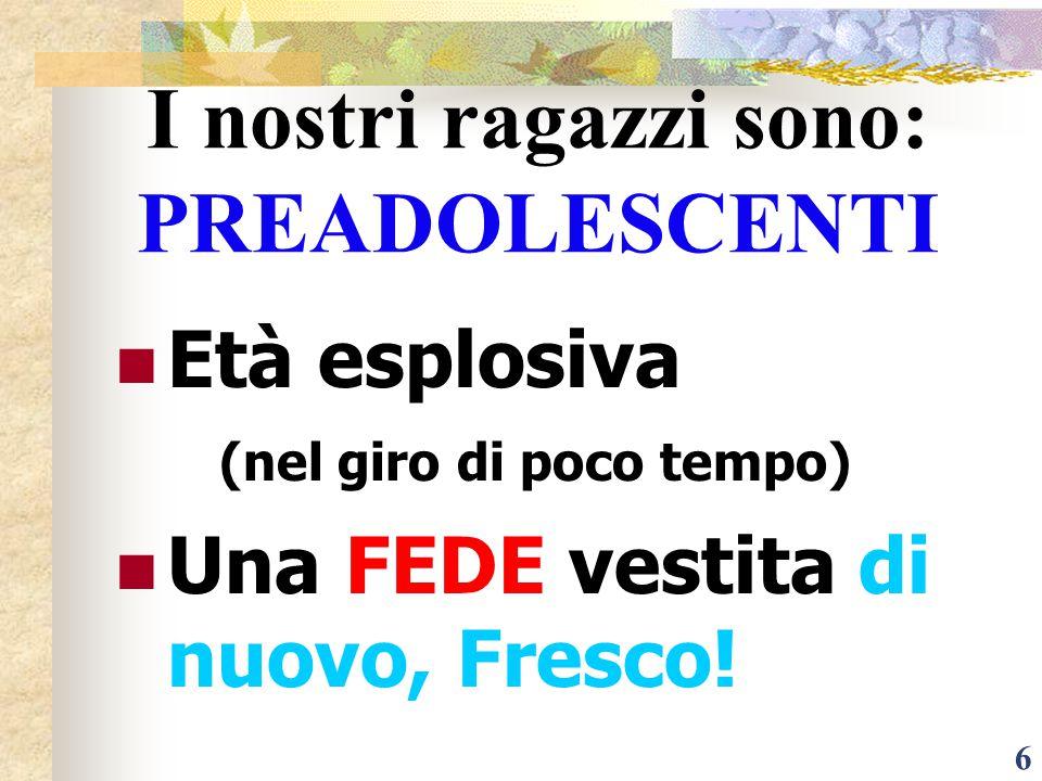 6 I nostri ragazzi sono: PREADOLESCENTI Età esplosiva (nel giro di poco tempo) Una FEDE vestita di nuovo, Fresco!