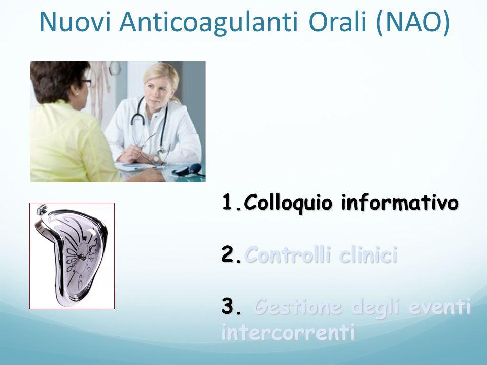1.Colloquio informativo 2.Controlli clinici 3. Gestione degli eventi intercorrenti Nuovi Anticoagulanti Orali (NAO)