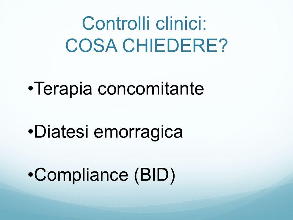Controlli clinici: COSA CHIEDERE? Terapia concomitante Diatesi emorragica Compliance (BID)