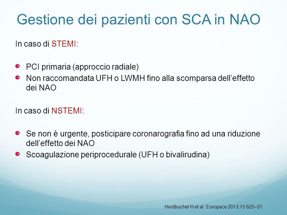 Gestione dei pazienti con SCA in NAO In caso di STEMI: PCI primaria (approccio radiale) Non raccomandata UFH o LWMH fino alla scomparsa dell'effetto d