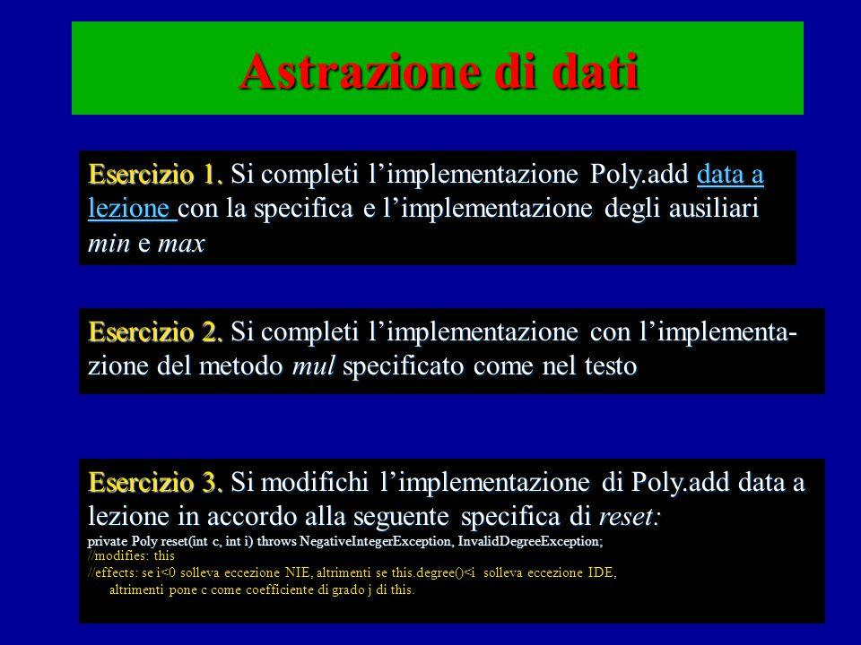 Astrazione di dati Esercizio 1.