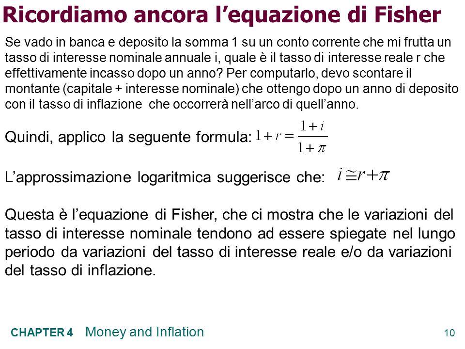 10 CHAPTER 4 Money and Inflation Ricordiamo ancora l'equazione di Fisher Se vado in banca e deposito la somma 1 su un conto corrente che mi frutta un tasso di interesse nominale annuale i, quale è il tasso di interesse reale r che effettivamente incasso dopo un anno.