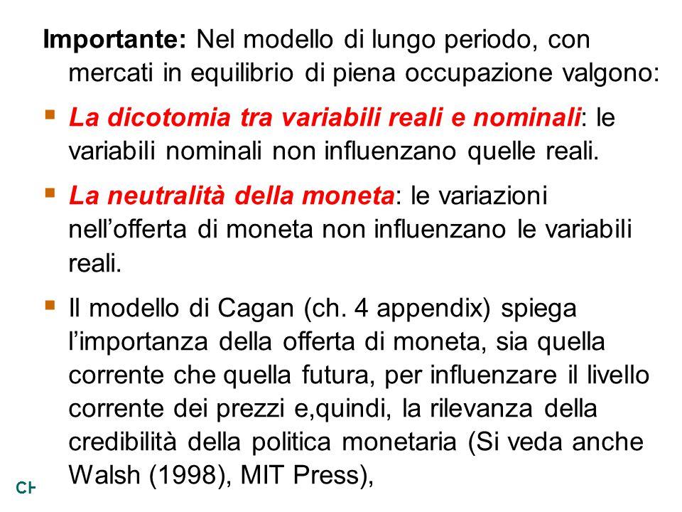 28 CHAPTER 4 Money and Inflation Importante: Nel modello di lungo periodo, con mercati in equilibrio di piena occupazione valgono:  La dicotomia tra variabili reali e nominali: le variabili nominali non influenzano quelle reali.