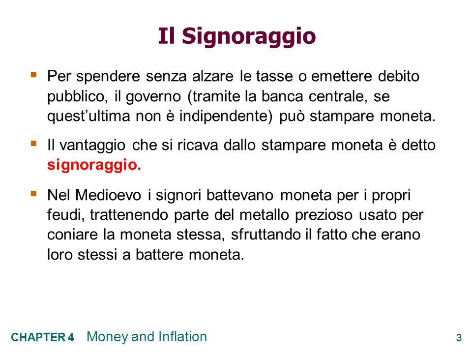 3 CHAPTER 4 Money and Inflation Il Signoraggio  Per spendere senza alzare le tasse o emettere debito pubblico, il governo (tramite la banca centrale,
