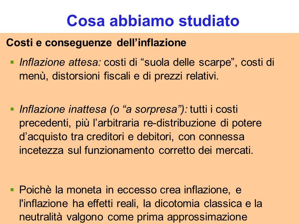 """60 CHAPTER 4 Money and Inflation Costi e conseguenze dell'inflazione  Inflazione attesa: costi di """"suola delle scarpe"""", costi di menù, distorsioni fi"""