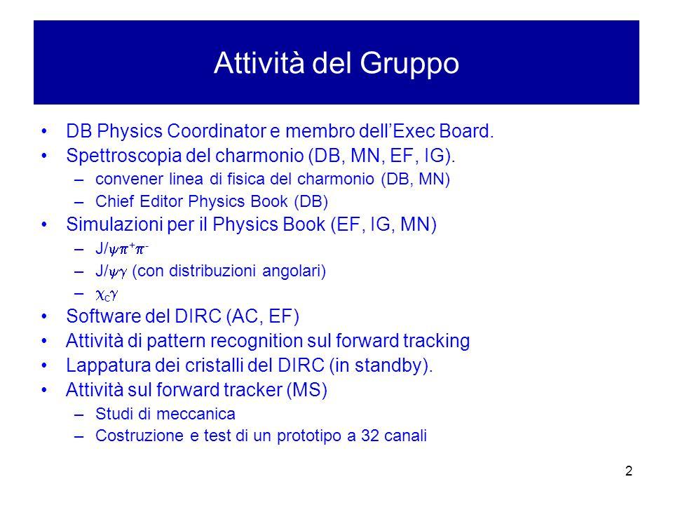 2 Attività del Gruppo DB Physics Coordinator e membro dell'Exec Board.