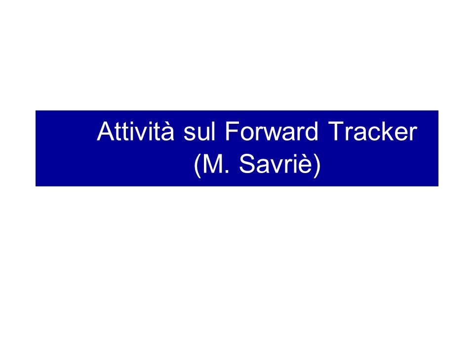 Attività sul Forward Tracker (M. Savriè)