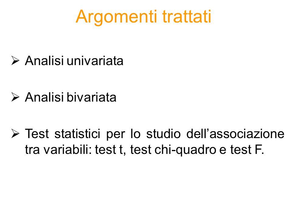 Argomenti trattati  Analisi univariata  Analisi bivariata  Test statistici per lo studio dell'associazione tra variabili: test t, test chi-quadro e
