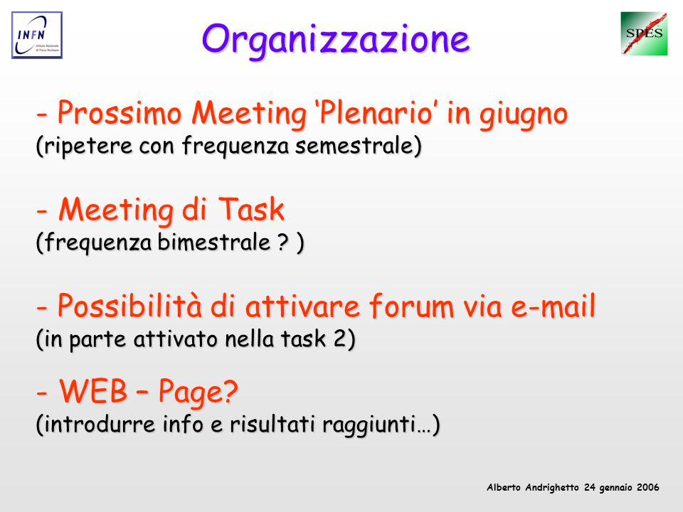 Alberto Andrighetto 24 gennaio 2006 Organizzazione - Prossimo Meeting 'Plenario' in giugno (ripetere con frequenza semestrale) - Meeting di Task (frequenza bimestrale .