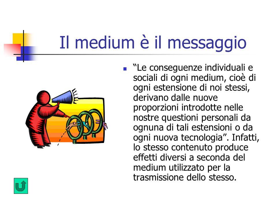 Il medium è il messaggio Le conseguenze individuali e sociali di ogni medium, cioè di ogni estensione di noi stessi, derivano dalle nuove proporzioni introdotte nelle nostre questioni personali da ognuna di tali estensioni o da ogni nuova tecnologia .