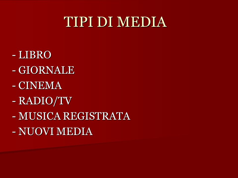 TIPI DI MEDIA - LIBRO - GIORNALE - CINEMA - RADIO/TV - MUSICA REGISTRATA - NUOVI MEDIA
