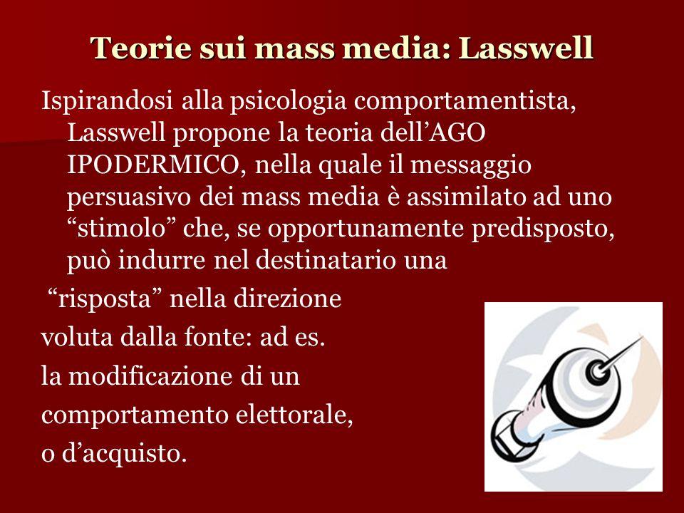 Teorie sui mass media: Lasswell Ispirandosi alla psicologia comportamentista, Lasswell propone la teoria dell'AGO IPODERMICO, nella quale il messaggio