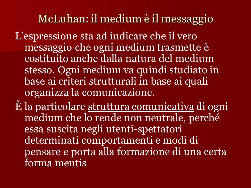 McLuhan: il medium è il messaggio L'espressione sta ad indicare che il vero messaggio che ogni medium trasmette è costituito anche dalla natura del me