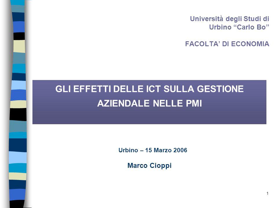 1 Università degli Studi di Urbino Carlo Bo FACOLTA' DI ECONOMIA GLI EFFETTI DELLE ICT SULLA GESTIONE AZIENDALE NELLE PMI Marco Cioppi Urbino – 15 Marzo 2006