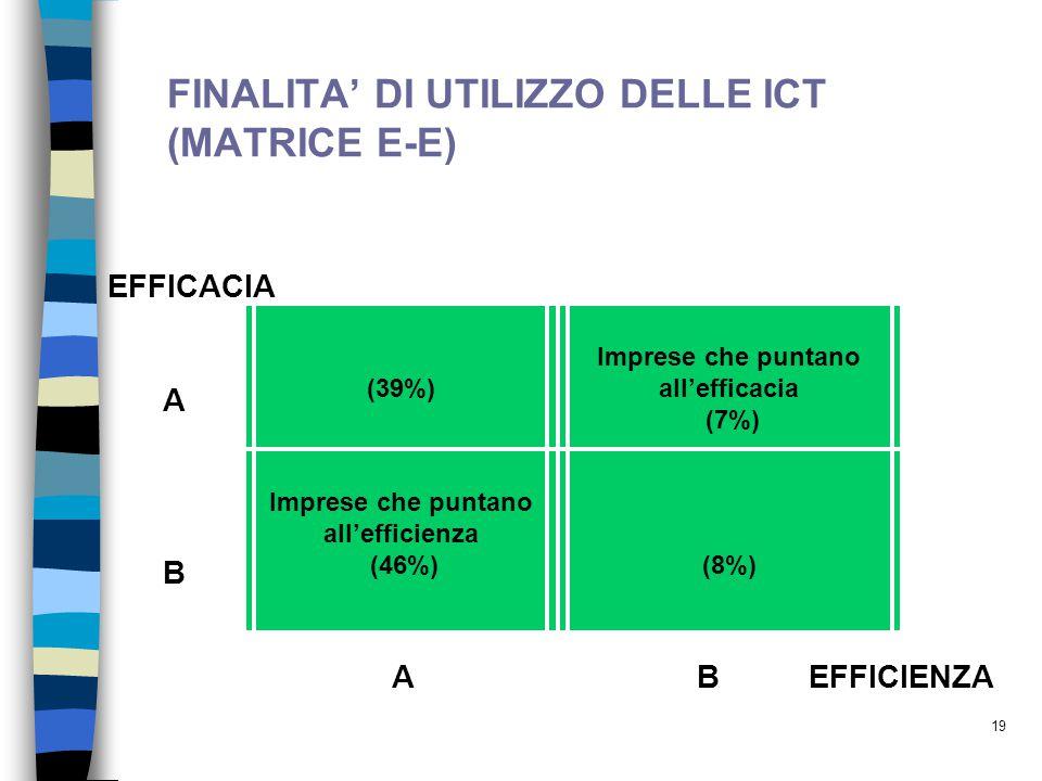 19 FINALITA' DI UTILIZZO DELLE ICT (MATRICE E-E) (39%) Imprese che puntano all'efficacia (7%) Imprese che puntano all'efficienza (46%) (8%) EFFICACIA A B AB EFFICIENZA