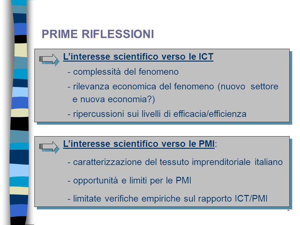 2 PRIME RIFLESSIONI L'interesse scientifico verso le ICT - complessità del fenomeno - rilevanza economica del fenomeno (nuovo settore e nuova economia?) - ripercussioni sui livelli di efficacia/efficienza L'interesse scientifico verso le ICT - complessità del fenomeno - rilevanza economica del fenomeno (nuovo settore e nuova economia?) - ripercussioni sui livelli di efficacia/efficienza L'interesse scientifico verso le PMI: - caratterizzazione del tessuto imprenditoriale italiano - opportunità e limiti per le PMI - limitate verifiche empiriche sul rapporto ICT/PMI L'interesse scientifico verso le PMI: - caratterizzazione del tessuto imprenditoriale italiano - opportunità e limiti per le PMI - limitate verifiche empiriche sul rapporto ICT/PMI