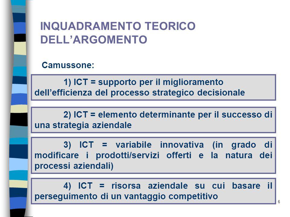 6 INQUADRAMENTO TEORICO DELL'ARGOMENTO Camussone: 1) ICT = supporto per il miglioramento dell'efficienza del processo strategico decisionale 2) ICT = elemento determinante per il successo di una strategia aziendale 3) ICT = variabile innovativa (in grado di modificare i prodotti/servizi offerti e la natura dei processi aziendali) 4) ICT = risorsa aziendale su cui basare il perseguimento di un vantaggio competitivo