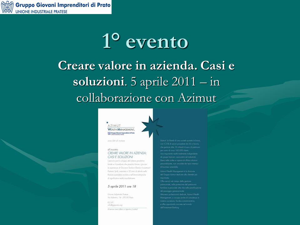 1° evento Creare valore in azienda. Casi e soluzioni. 5 aprile 2011 – in collaborazione con Azimut