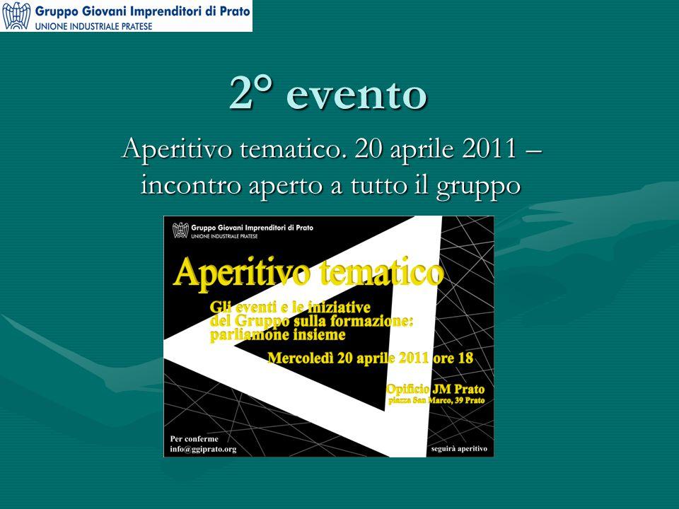 2° evento Aperitivo tematico. 20 aprile 2011 – incontro aperto a tutto il gruppo