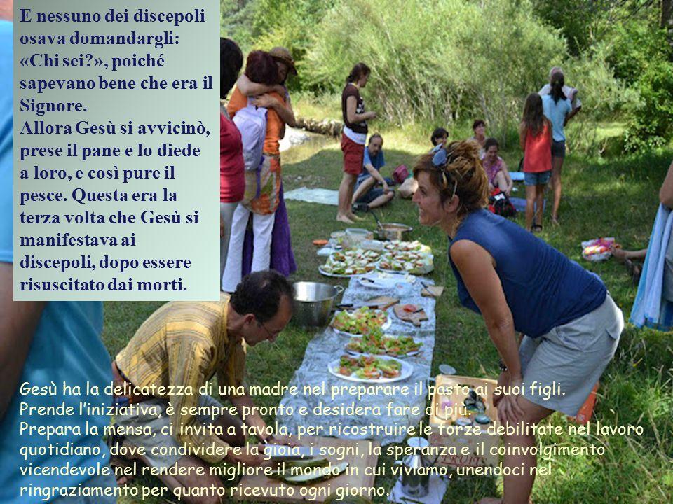 Per quanto riguarda i pasti, segno di fratellanza, tempo e vita condivisi, Gesú Risorto mantiene le stesse abitudini del Gesù della Storia. Egli conti