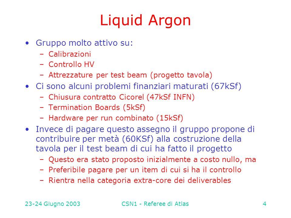 23-24 Giugno 2003CSN1 - Referee di Atlas4 Liquid Argon Gruppo molto attivo su: –Calibrazioni –Controllo HV –Attrezzature per test beam (progetto tavol