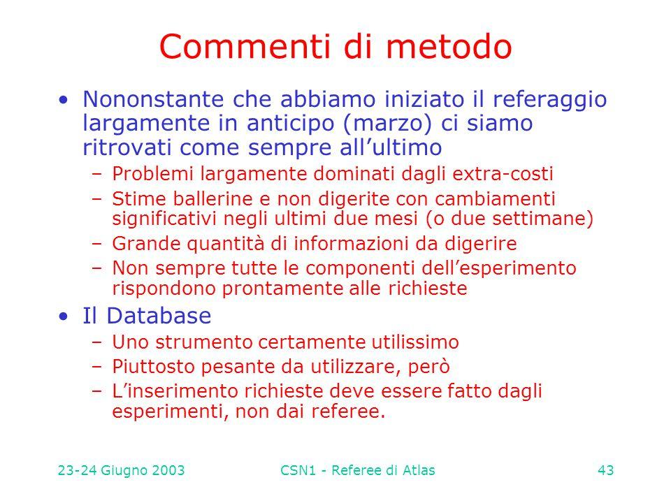 23-24 Giugno 2003CSN1 - Referee di Atlas43 Commenti di metodo Nononstante che abbiamo iniziato il referaggio largamente in anticipo (marzo) ci siamo r