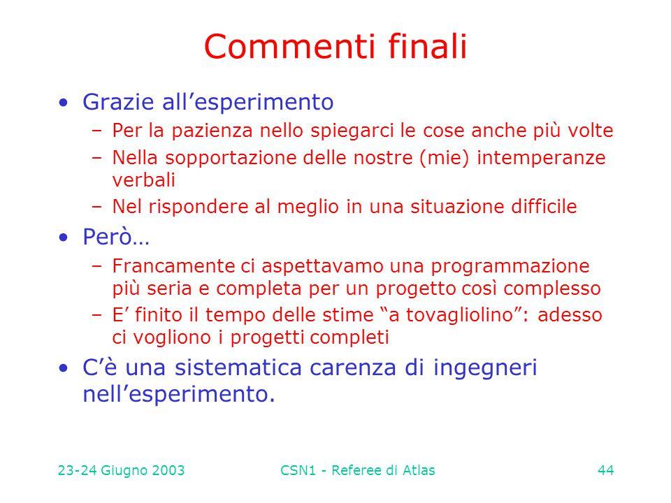 23-24 Giugno 2003CSN1 - Referee di Atlas44 Commenti finali Grazie all'esperimento –Per la pazienza nello spiegarci le cose anche più volte –Nella sopp