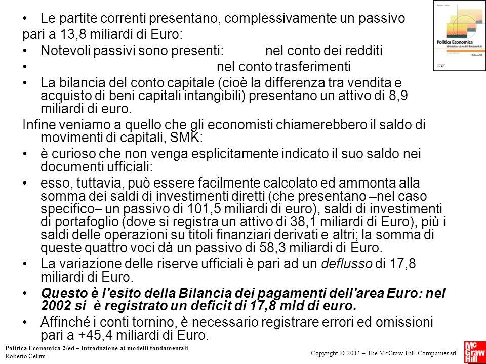 Copyright © 2011 – The McGraw-Hill Companies srl Politica Economica 2/ed – Introduzione ai modelli fondamentali Roberto Cellini Le partite correnti pr