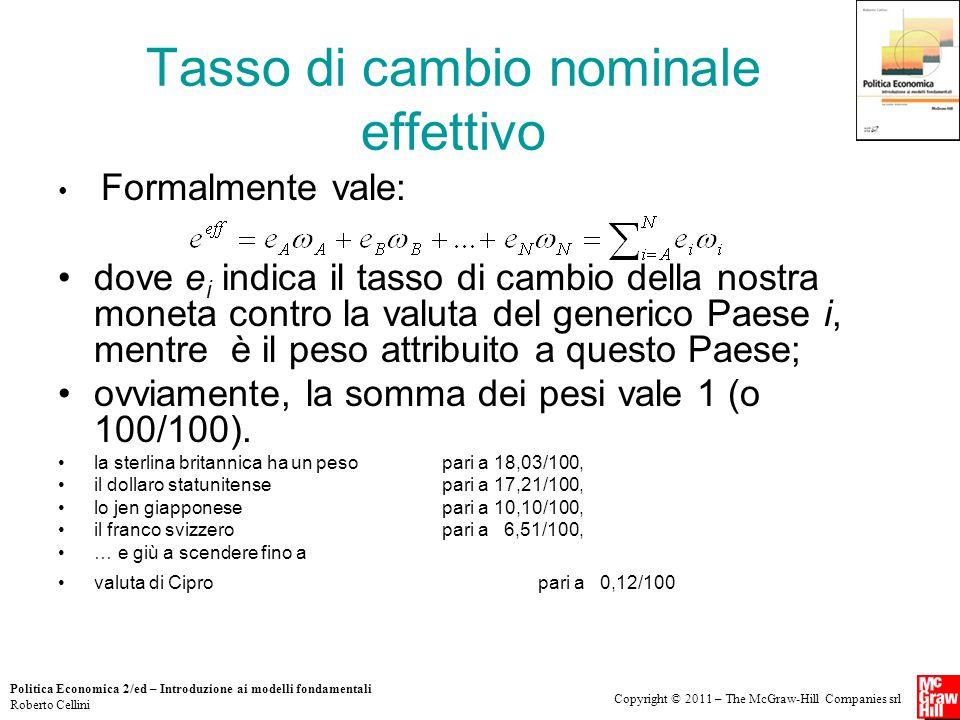 Copyright © 2011 – The McGraw-Hill Companies srl Politica Economica 2/ed – Introduzione ai modelli fondamentali Roberto Cellini Tasso di cambio nomina