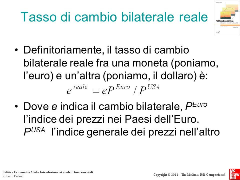 Copyright © 2011 – The McGraw-Hill Companies srl Politica Economica 2/ed – Introduzione ai modelli fondamentali Roberto Cellini Tasso di cambio bilate